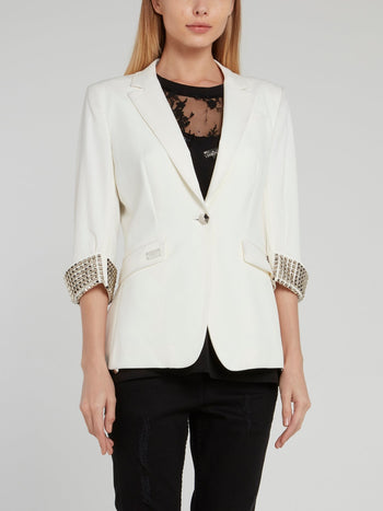 White Multi-Stud Statement Blazer