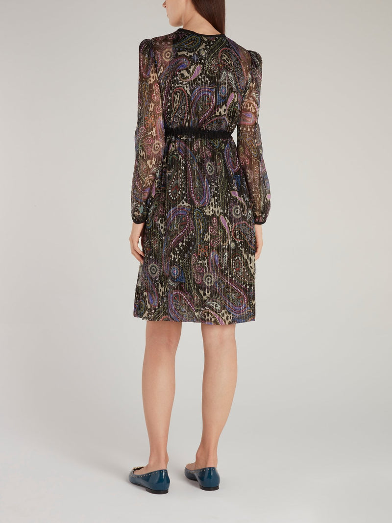 Baroque Print Cascade Dress
