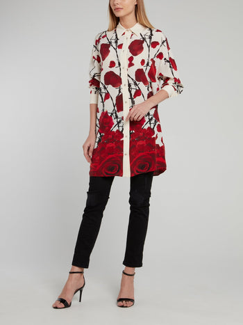 Beige Rose Print Long Shirt