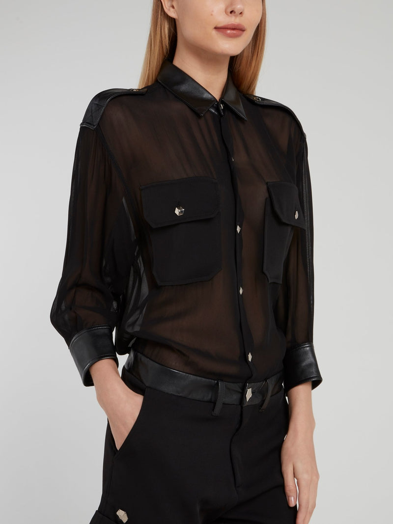 Black Mesh Leather Button Up Romper