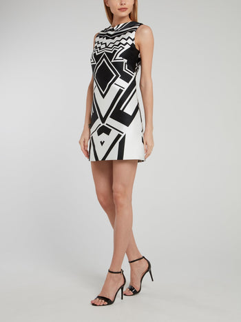 Geometric Open Back Shift Dress