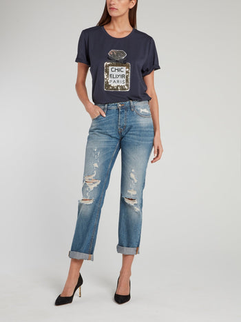 Navy Sequin Embellished Cotton T-Shirt