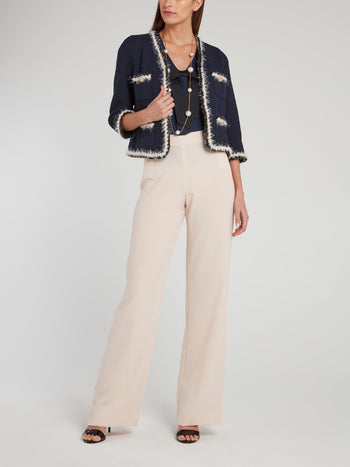 Beige Button Embellished Boot-Cut Pants