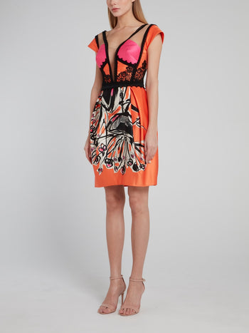 Orange Lace Detailed Sheath Dress