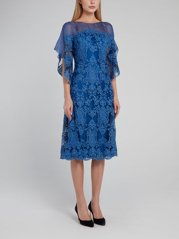 Blue Embroidered Mesh Panel Midi Dress