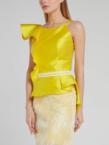 Yellow Asymmetric Ruffle Silk Top