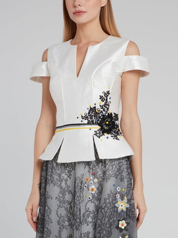 Floral Detail Cold Shoulder Peplum Top