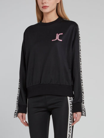 Black Logo Side Stripe Sweatshirt