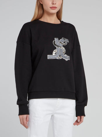 Black Studded Snake Logo Sweatshirt