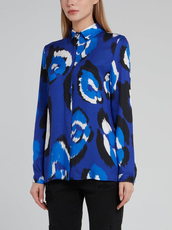 Blue Leopard Effect Long Sleeve Viscose Top