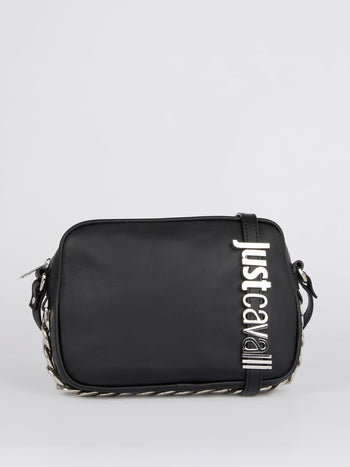 Black Chain Embellished Leather Shoulder Bag
