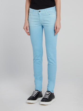 Blue Detailed Pocket Skinny Jeans