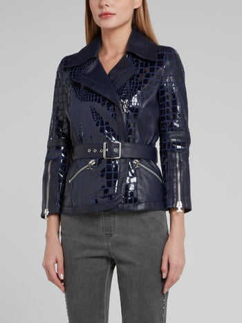 Navy Snake Effect Biker Jacket