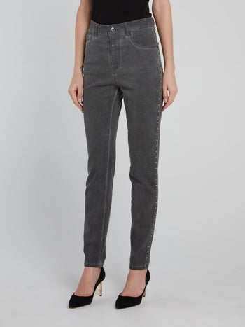 Grey Side Studded  High Waist Pants