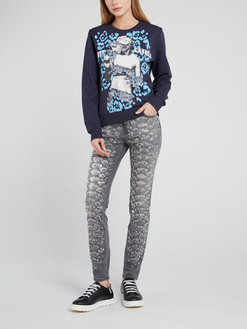 Grey Snake Effect Embellished Denim Jeans