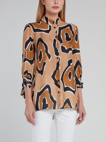 Brown Leopard Effect Viscose Shirt