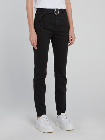 Black Snake Buckled Skinny Jeans