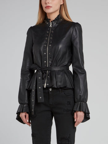 Black Tie Front Frill Leather Jacket