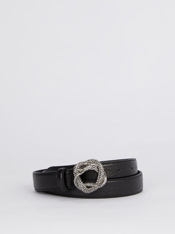 Black Snake Buckle Leather Belt