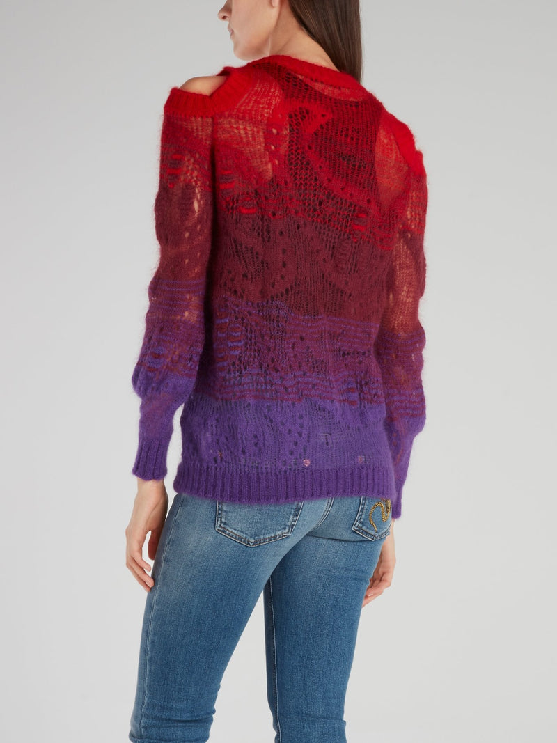 Red Cold Shoulder Knitted Sweater
