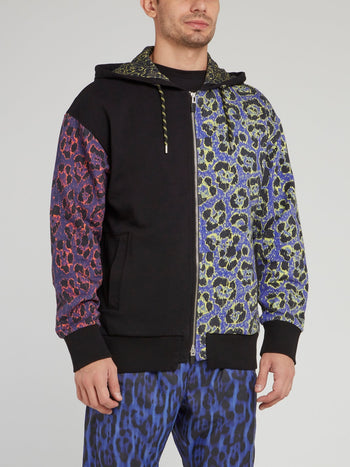 Multicoloured Leopard Print Zip Up Jacket