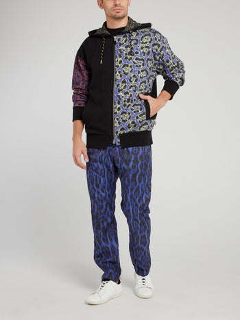 Blue Leopard Print Trousers
