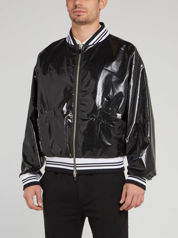 Black Snake Print Stripe Edge Bomber Jacket