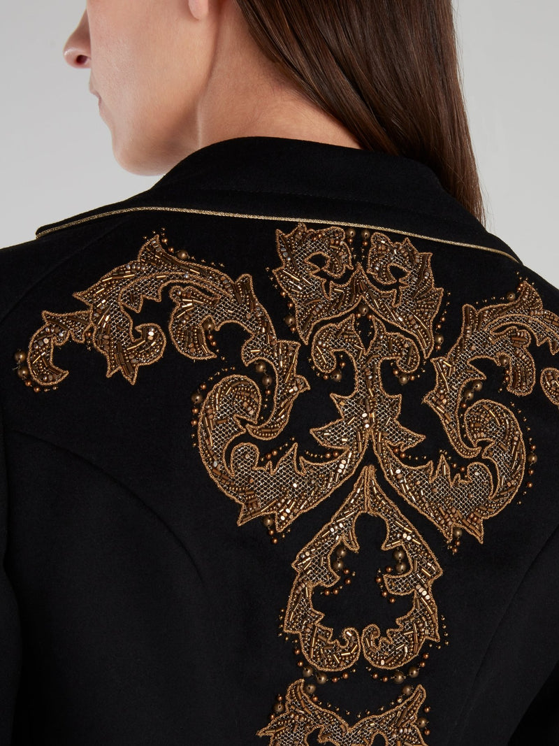 Black Button Embellished Jacket