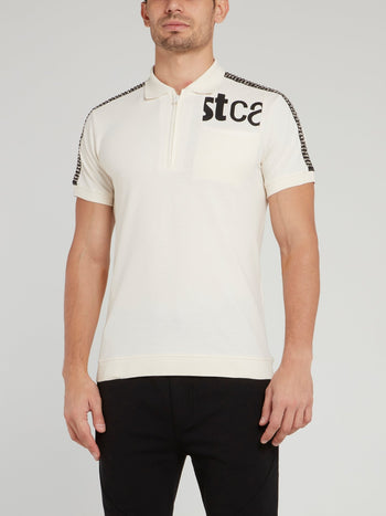 White Shoulder Studded Logo Polo Shirt