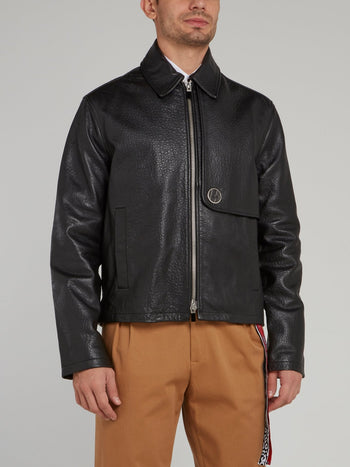 Black Zip Up Textured Leather Jacket