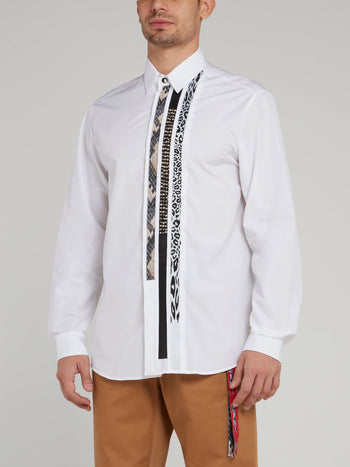 White Stripe Panel Long Sleeve Shirt