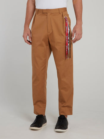 Brown Side Fringe Tapered Pants