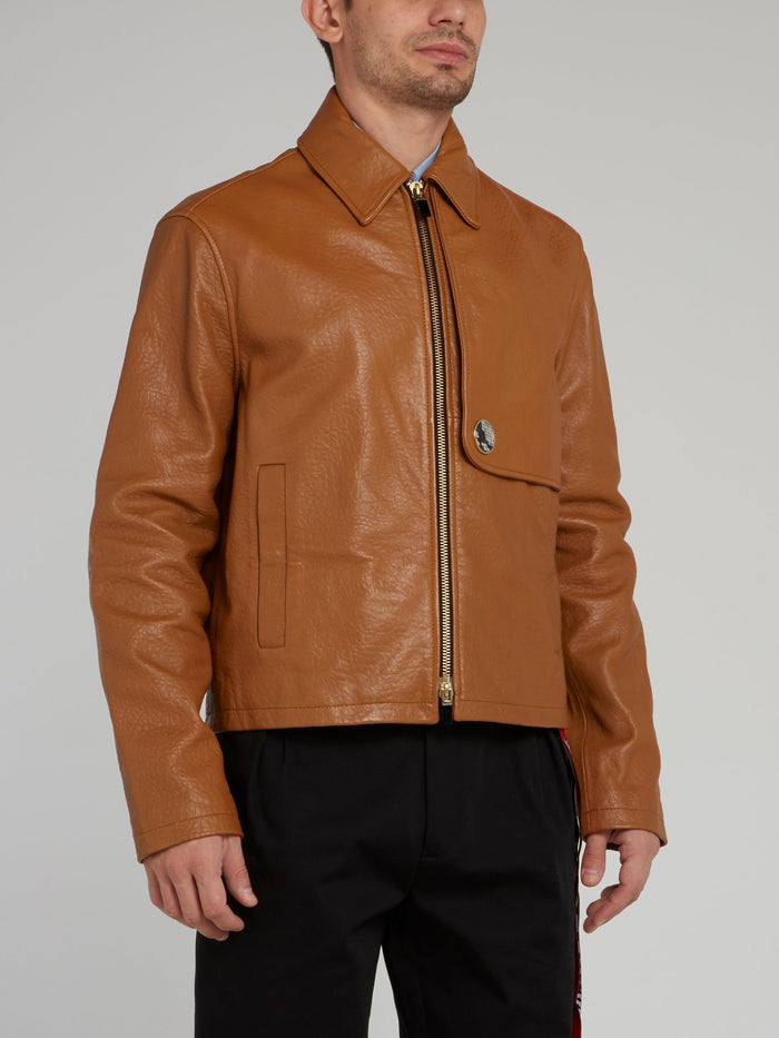 Brown Zip Up Textured Leather Jacket