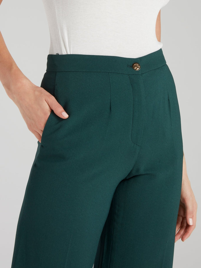Green Flared Culottes