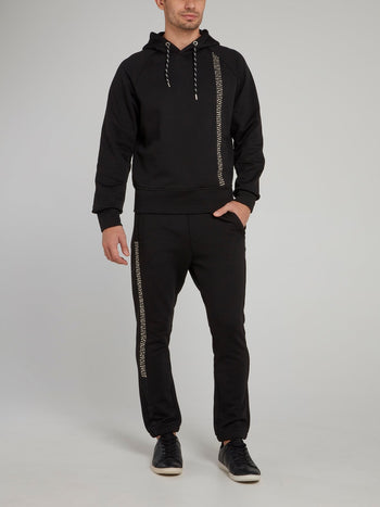 Black Stud Stripe Logo Hooded Sweatshirt