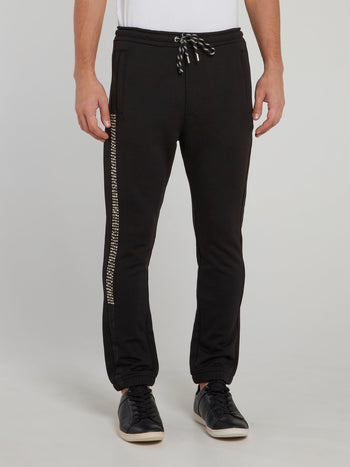 Black Side Studded Drawstring Track Pants