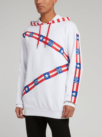 White USA Crest Drawstring Sweatshirt