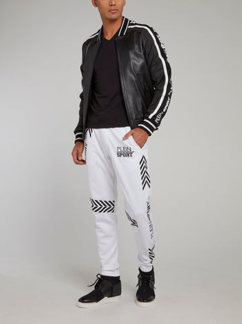 White Geometric Jogging Trousers
