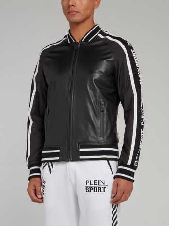 Black Logo Stripe Edge Leather Jacket