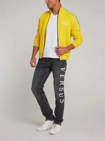 Yellow High Neck Zip Up Logo Sweatshirt