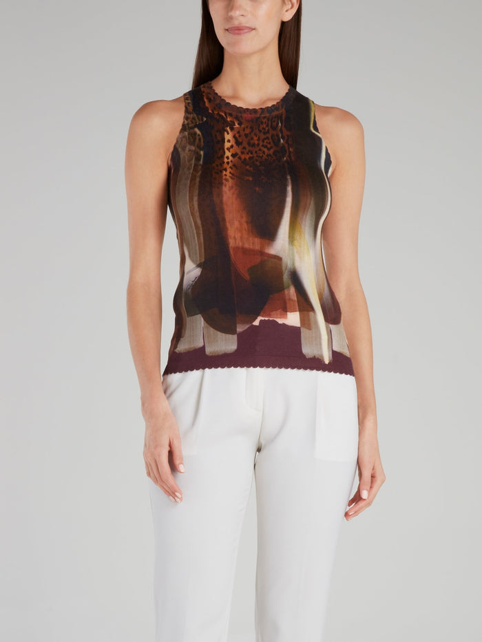 Abstract Print Ribbed Top