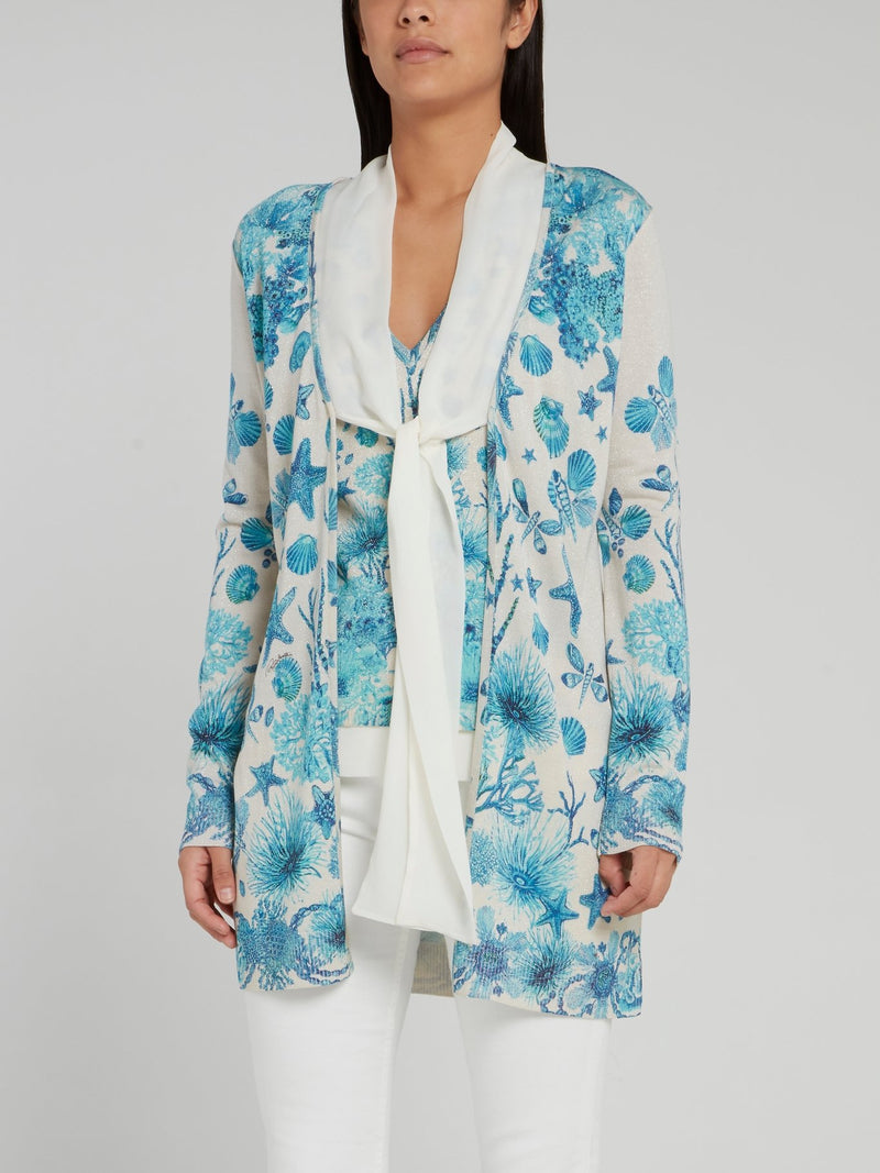 Ocean Print Tie Front Knitted Cardigan