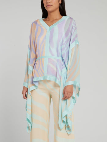 Multicolour Butterfly Sleeve Silk Top