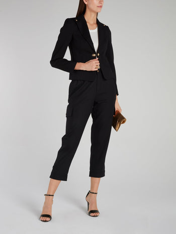 Black Button Detail Cropped Blazer