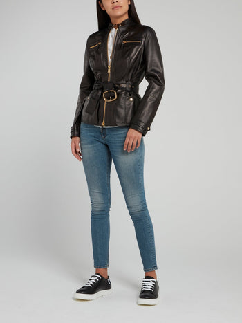 Black Snap Button Belted Leather Jacket
