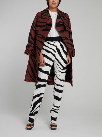 Animal Print Belted Trench Coat