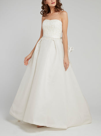 White Strapless Ruffle Back Bridal Gown
