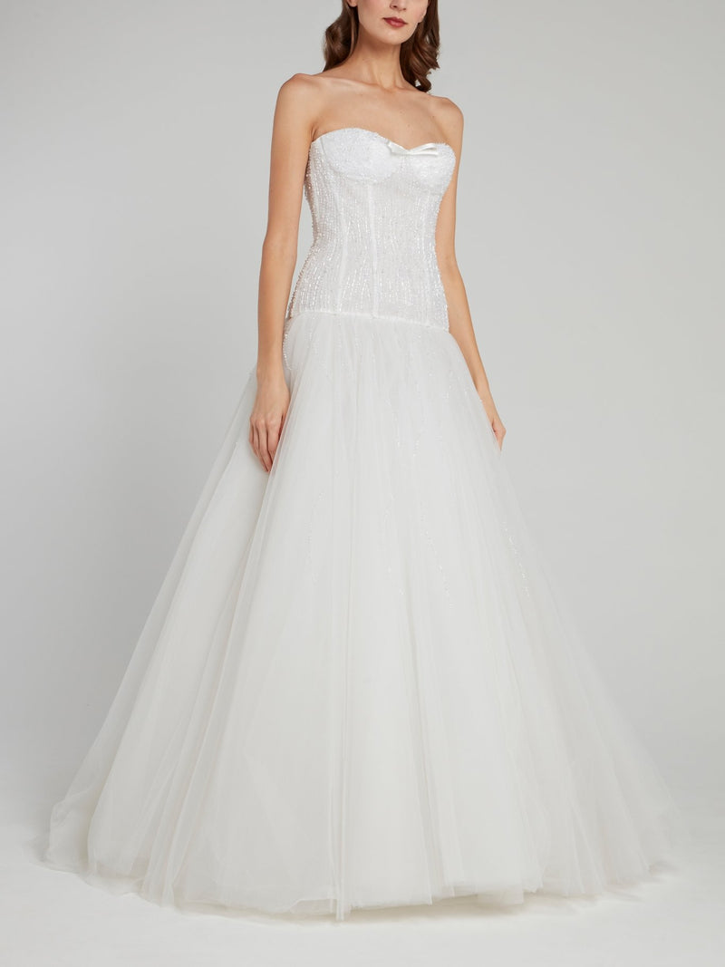 White Beaded Strapless A-Line Bridal Gown
