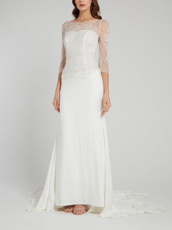 White Beaded Overlay Bridal Gown