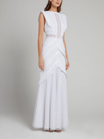 White Frill Detail Tiered Maxi Dress